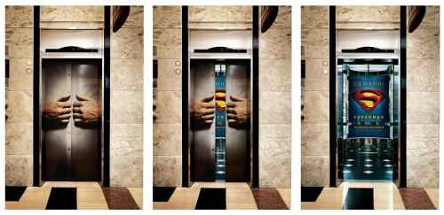 Superman-street-marketing-ascenseur-creatif